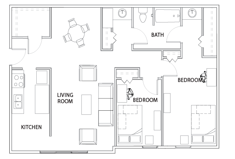 2 bed 1 bath deluxe apartment willowtree apartments and tower student housing ann arbor mi for Floor plan for two bedroom apartment