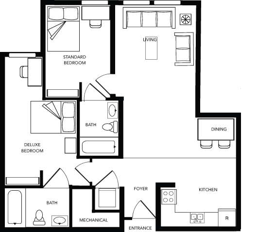 2 Bed - 2 Bath A Deluxe