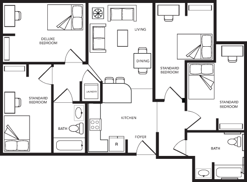 4 Bed 2 Bath A Deluxe