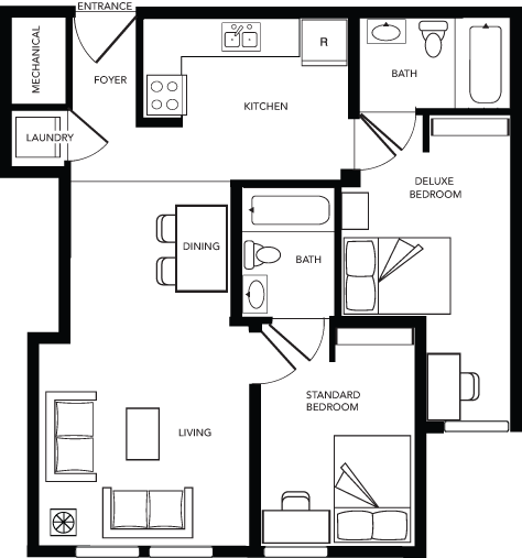2 Bed - 2 Bath C Deluxe WAITLIST