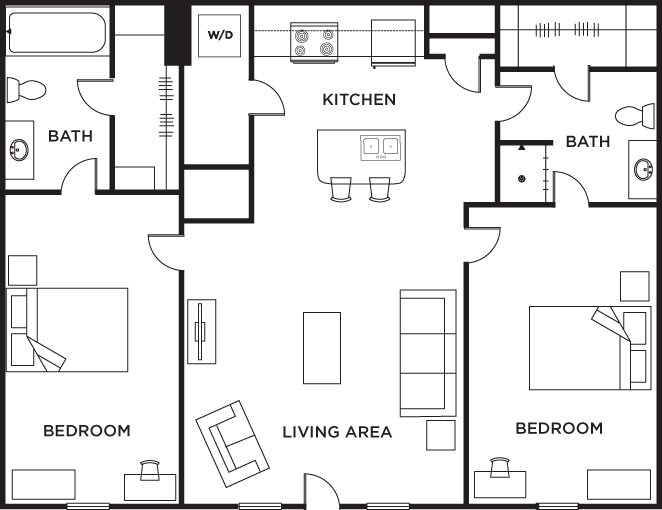 2 bedroom 2 bath floor plans gurus floor for 2 bedroom 2 bath apartment floor plans