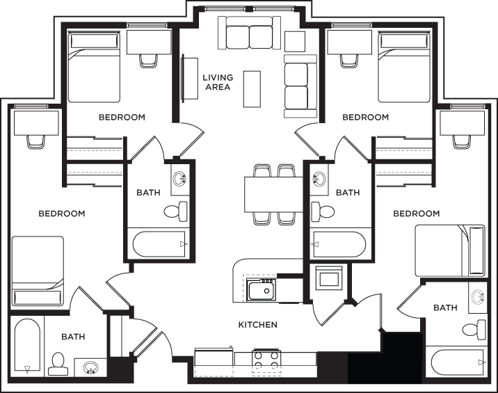 4 bed 4 bath a 1200 west marshall student housing for American west homes floor plans