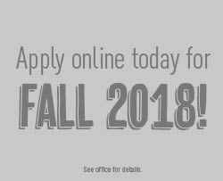 Apply online today for Fall 2018!