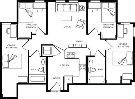 4 Bed - 2 Bath B Deluxe WAITLIST