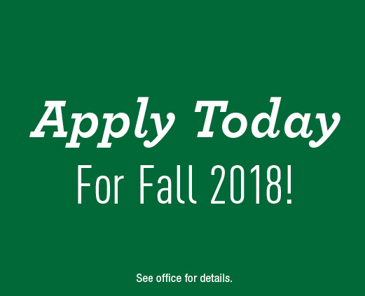 Apply today for Fall 2018