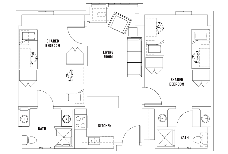 2 bed 2 bath shared bedroom university centre for Shared bathroom layout
