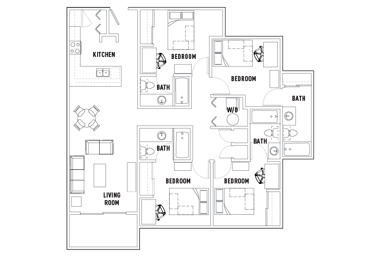 4 Bed 4 Bath The Outpost Student Housing San