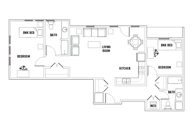 Floor plans park point rochester student housing for Shared bathroom layout
