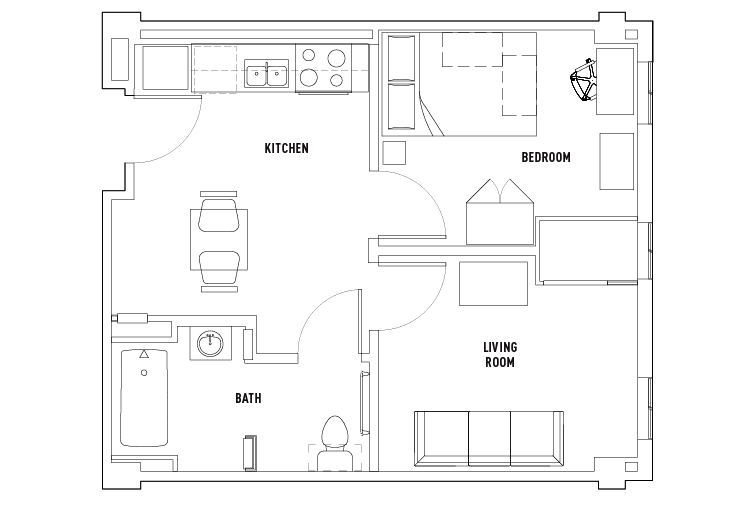 1 Bed - 1 Bath with Living Room