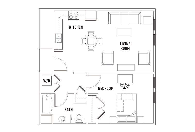 1 Bed - 1 Bath Balcony