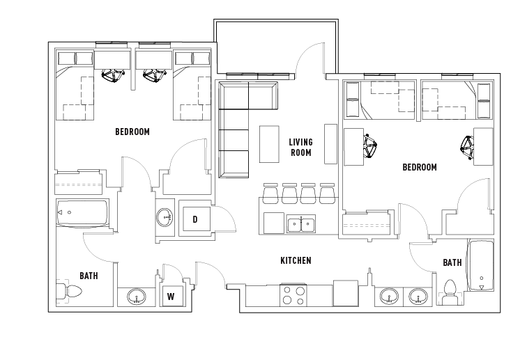 2 Bed - 2 Bath Double Twin