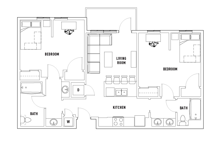 2 Bed - 2 Bath Private