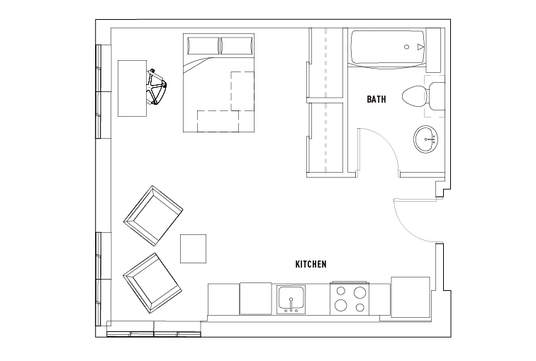 1 Bed - 1 Bath Studio