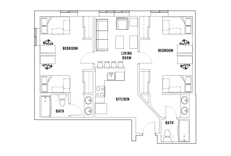 2 Bed - 2 Bath Shared