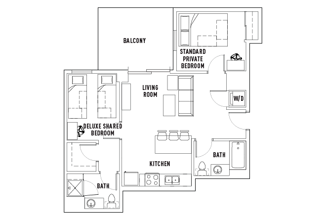 2 Bed - 2 Bath B Premium Deluxe Shared