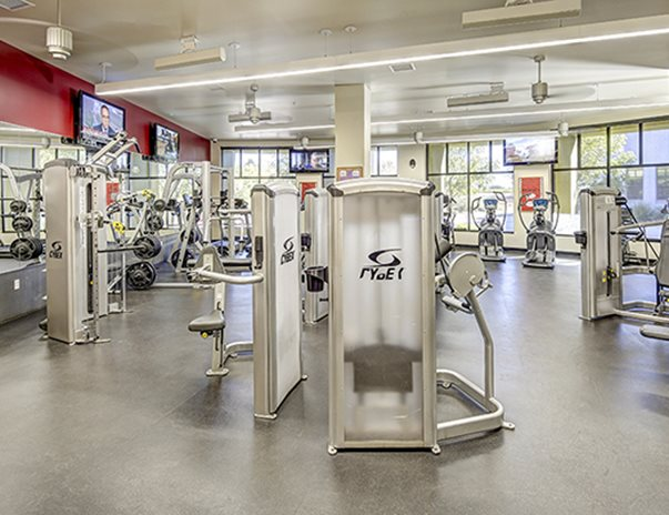 24-hour fitness center with cardio equipment & strength machines