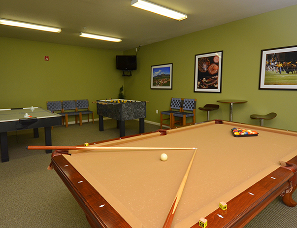 Game room at University Village at Boulder Creek