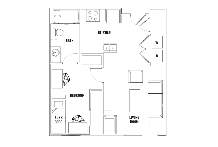 1 Bed - 1 Bath Shared Bedroom