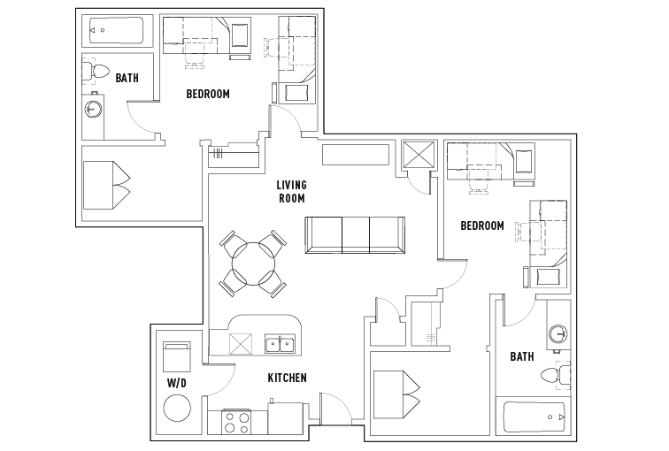 2 bed 2 bath w study shared bedroom furnished for Study bed plans
