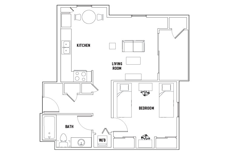 1 Bed - 1 Bath D - Double Occupancy