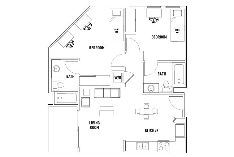 2 Bed - 2 Bath J - Double Occupancy