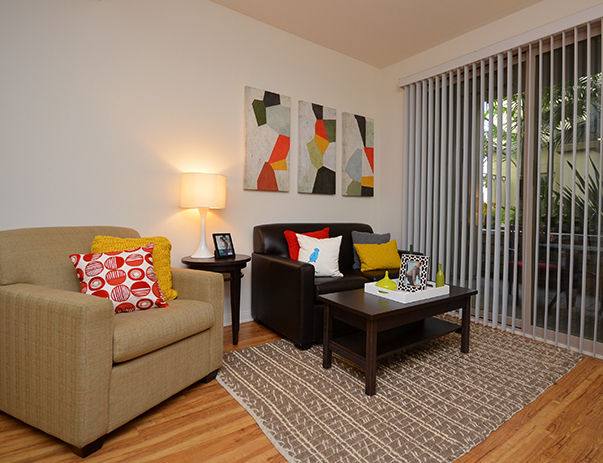 Fully furnished, spacious living room at West 27th Place