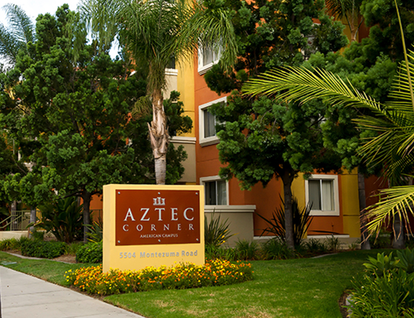 Alternate view of Aztec Corner from the street