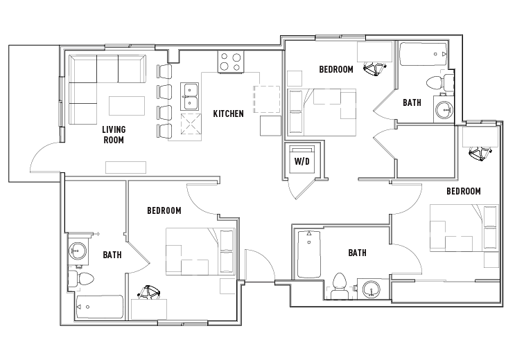 Print Floor Plan. 3 Bed   3 Bath B   Currie Hall   Student Housing   Los Angeles  CA