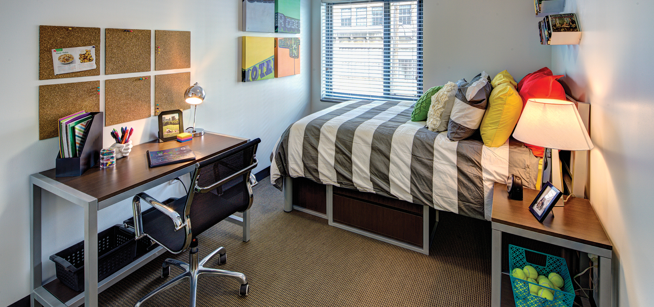 Fully furnished bedroom at Chestnut Square