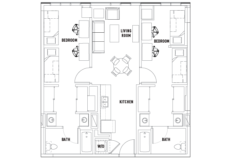 Print Floor Plan. 2 Bed   2 Bath Shared Bedroom Suite A   The Summit at University