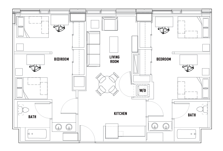 2 bed 2 bath shared bedroom suite c the summit at for Shared bathroom layout