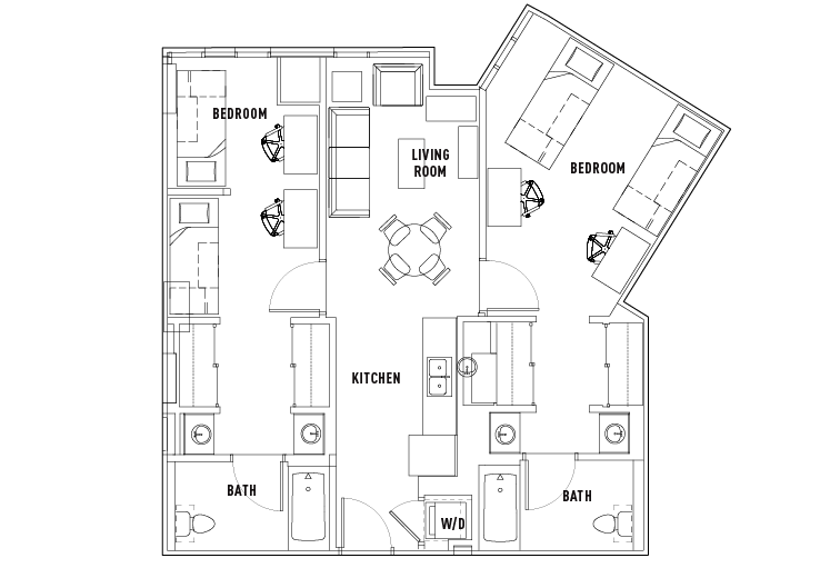 2 Bed - 2 Bath Shared Bedroom Suite D Standard