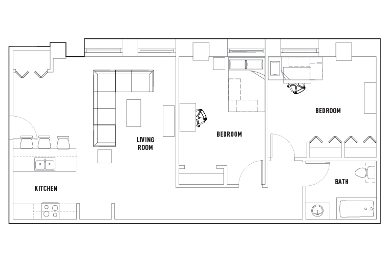 2 Bed - 1 Bath A Private - Co-op Floorplan