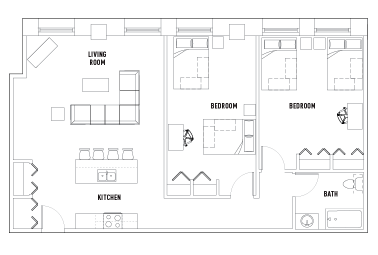 2 bed 1 bath c shared bedroom university crossings for Shared bathroom layout