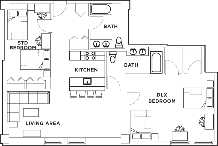 Floor plans university crossings student housing for Shared bathroom layout