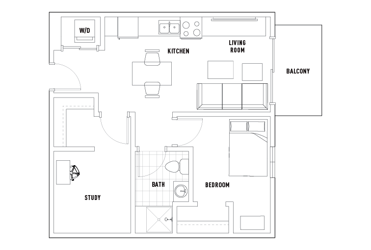 1 Bed - 1 Bath with Study Balcony