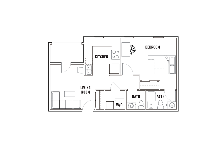 1 Bed - 1.5 Bath B - Phase 1