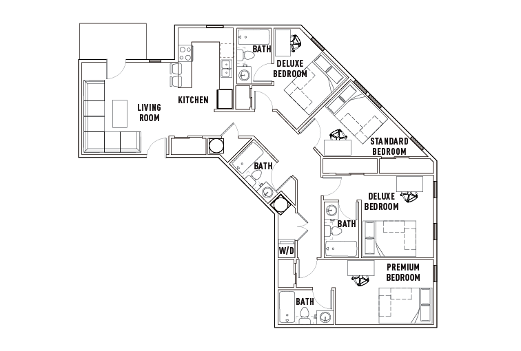 Floor Plans - Chauncey Square - Student Housing - West Lafayette, IN