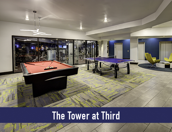 Access to The Tower at Third's newly upgraded recreation center