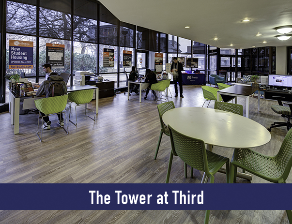 Leasing office for The Suites at Third located in The Tower at Third