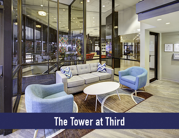 Lobby lounge located at The Tower at Third