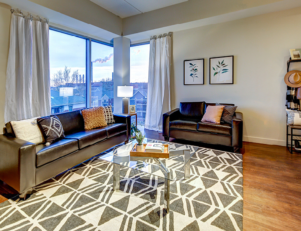 Fully furnished living room at Lofts 54