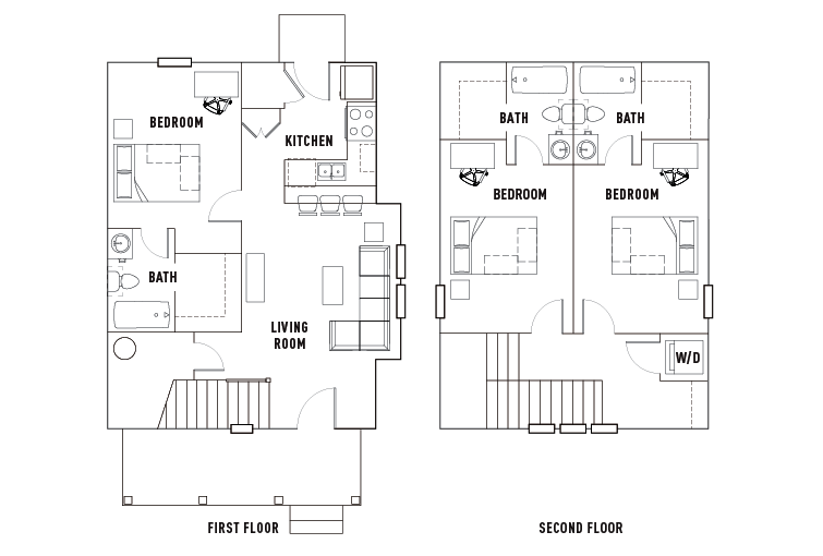 Floor Plans - The Cottages of Durham - Student Housing - Durham, NH