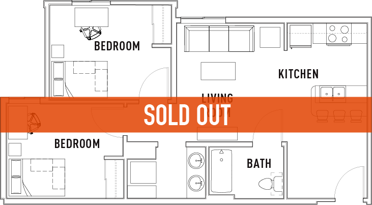 2 Bed - 1 Bath A - SOLD OUT