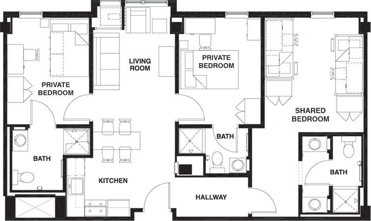 3 bed 3 bath shared bedroom university centre for Shared bathroom layout