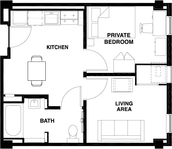 1 Bed - 1 Bath w/ Living Room WAITLIST