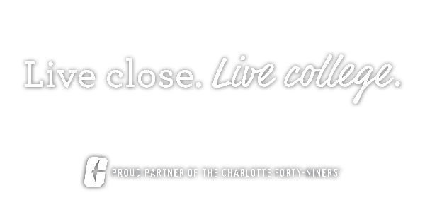 The Edge UNCC apartments. Live close. Live college. Proud partner of the Charlotte Forty-Niners.