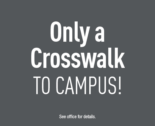 Only a crosswalk to campus.