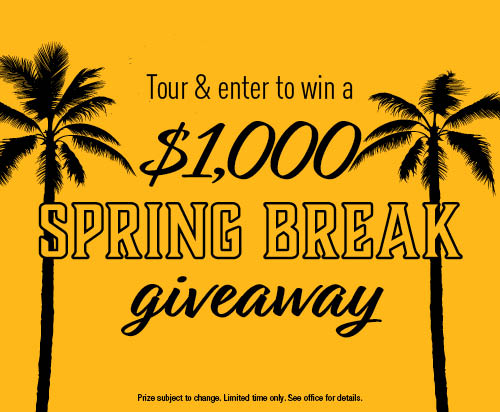 Tour & enter to win a $1000 spring break giveaway