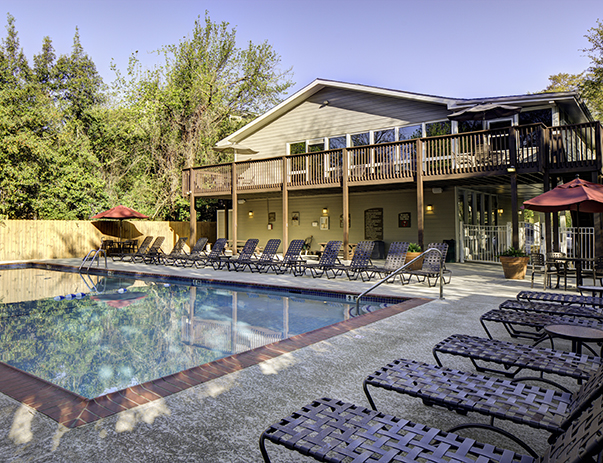 Swimming pool and sun deck at River Mill